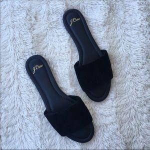 J crew Sz 9 Cora slide sandals black suede